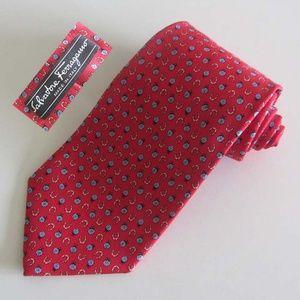 FERRAGAMO ladybags horseshoe printed tie 100% silk